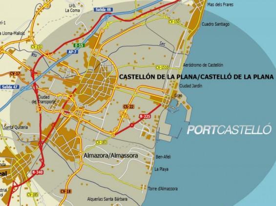 mapa de acceso al port de Castelló por carretera